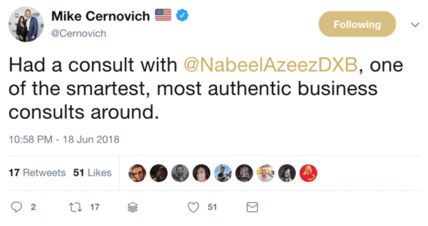 mike cernovich owner of cernovich media testimonial for nabeel azeez